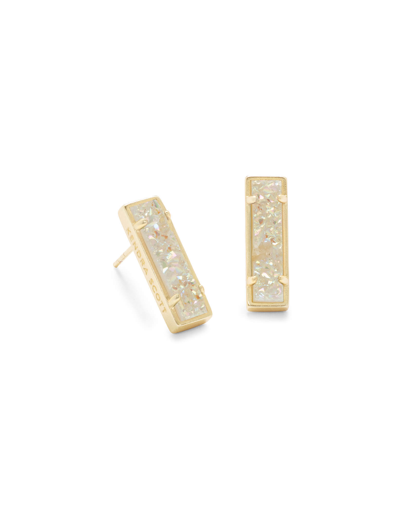 Lady Gold Stud Earrings in Iridescent Drusy