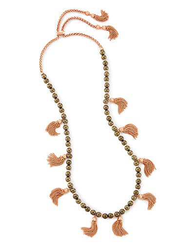 Vanina Long Necklace in Pyrite