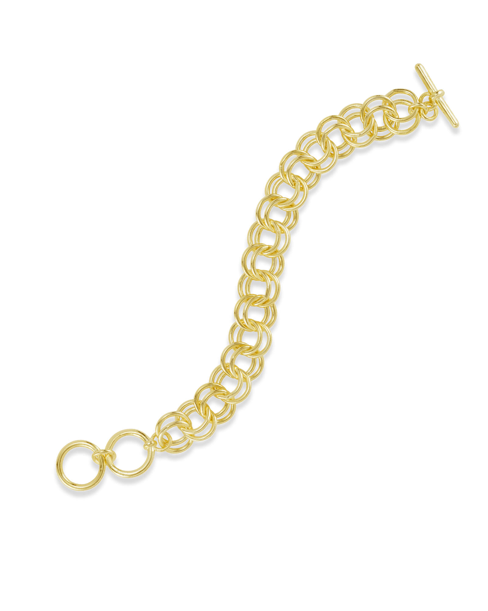 Petite Double Link Toggle Bracelet in Gold