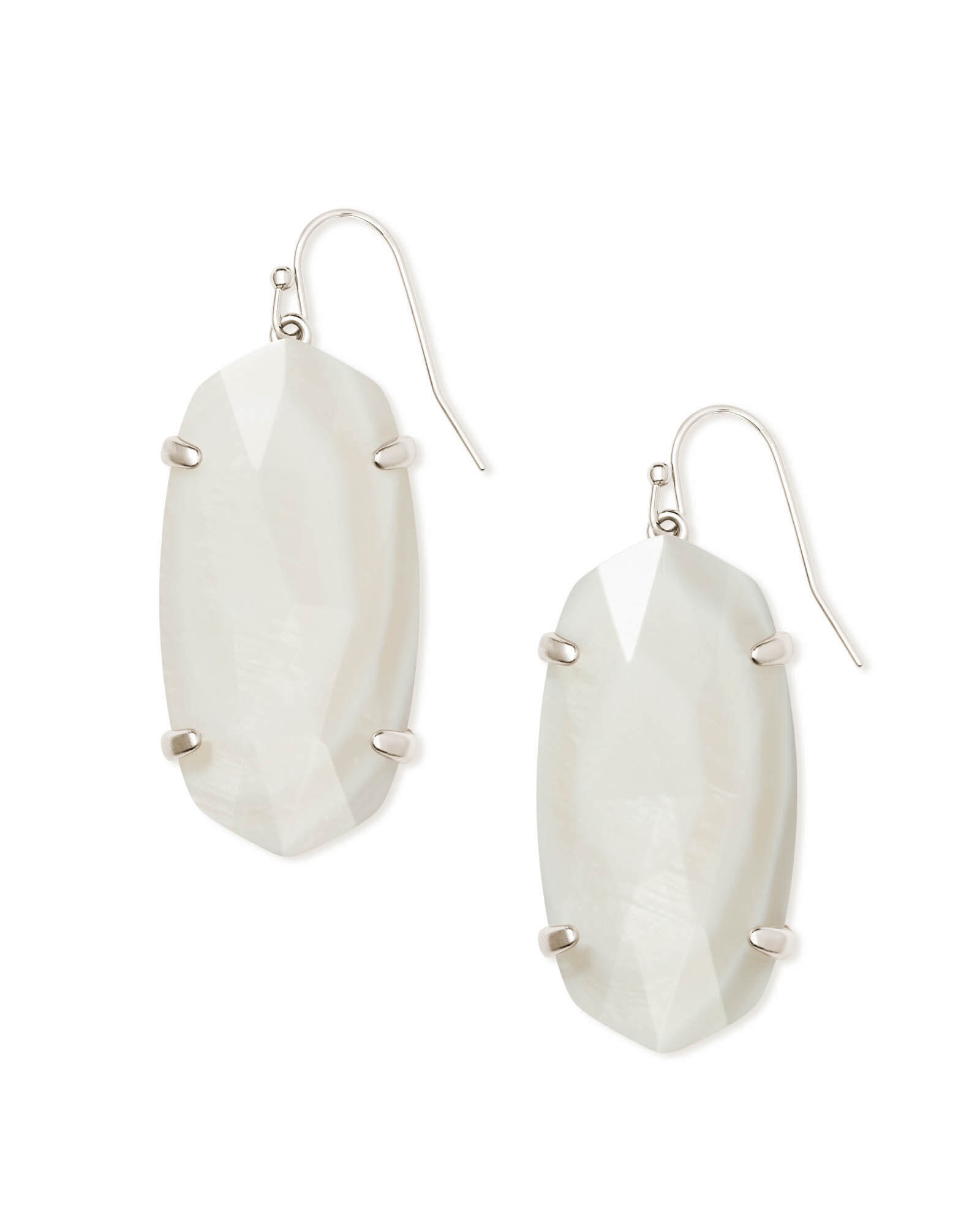 Esme Silver Drop Earrings In White Pearl