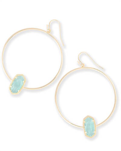 Elora Gold Hoop Earrings in Chalcedony Glass