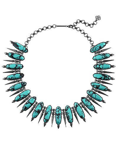 Gwendolyn Statement Necklace in Variegated Teal Magnesite