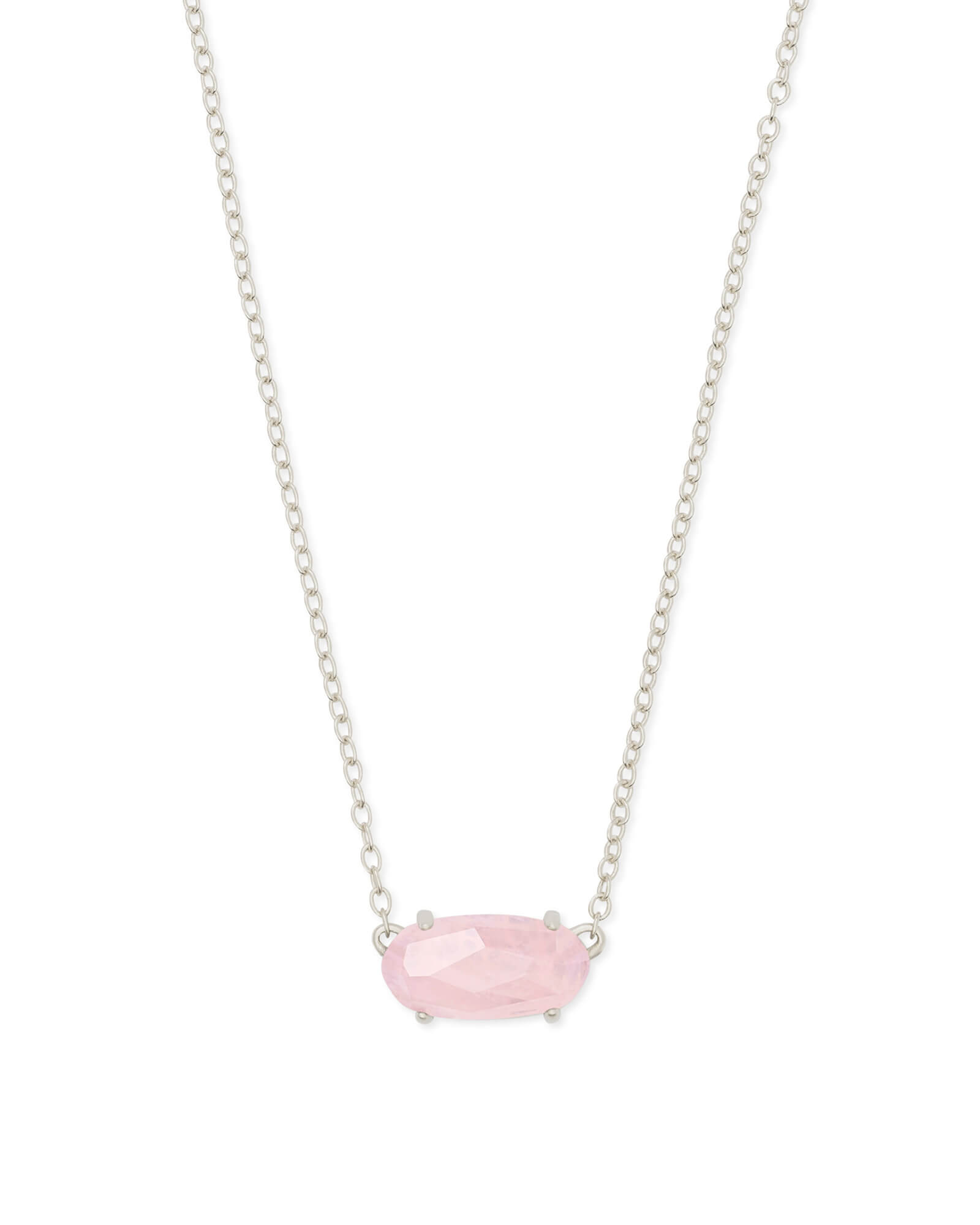 Ever Silver Pendant Necklace in Rose Quartz