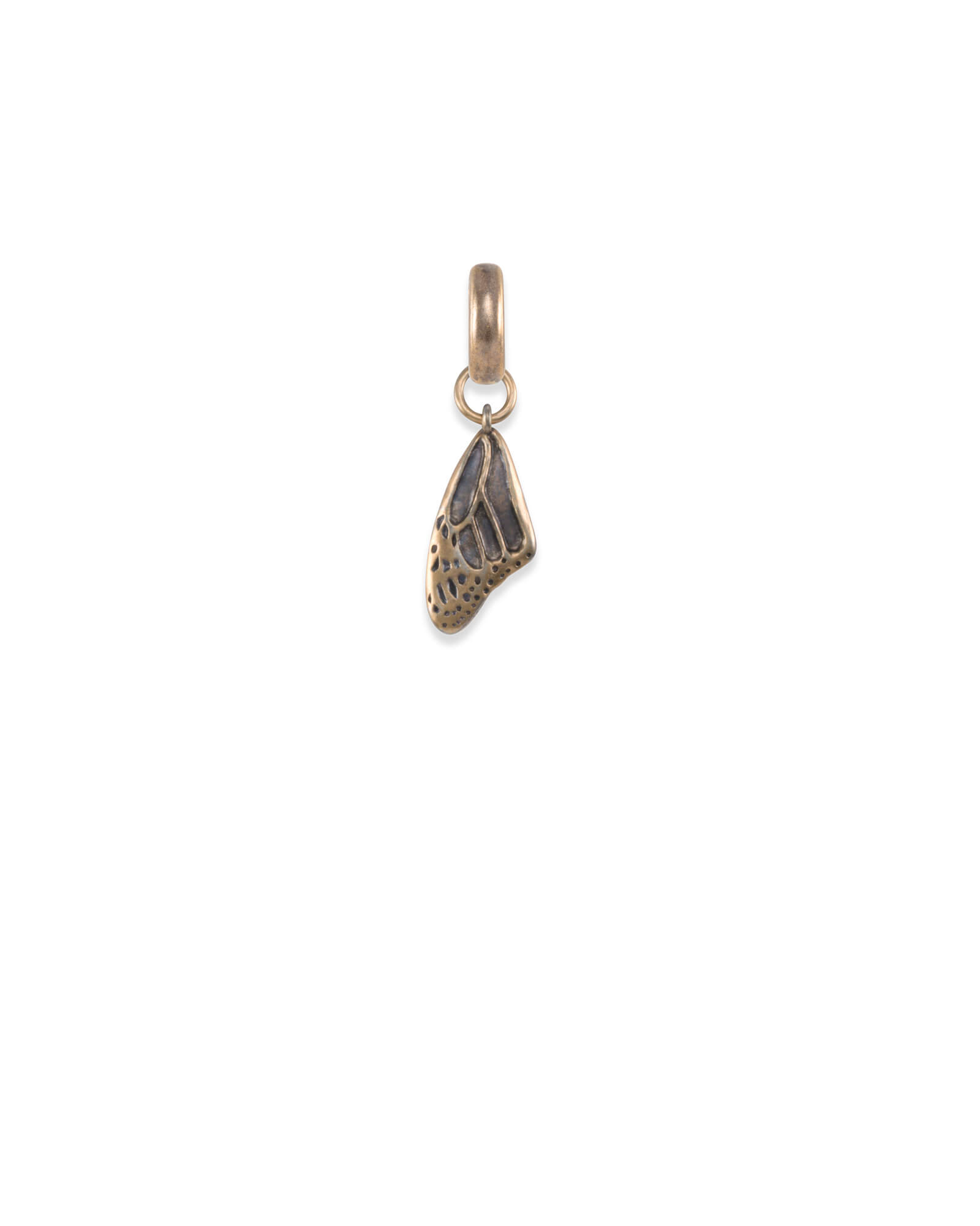 Breast Cancer Butterfly Wing Charm in Vintage Gold