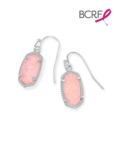 Lee Silver Drop Earrings in Light Pink Drusy