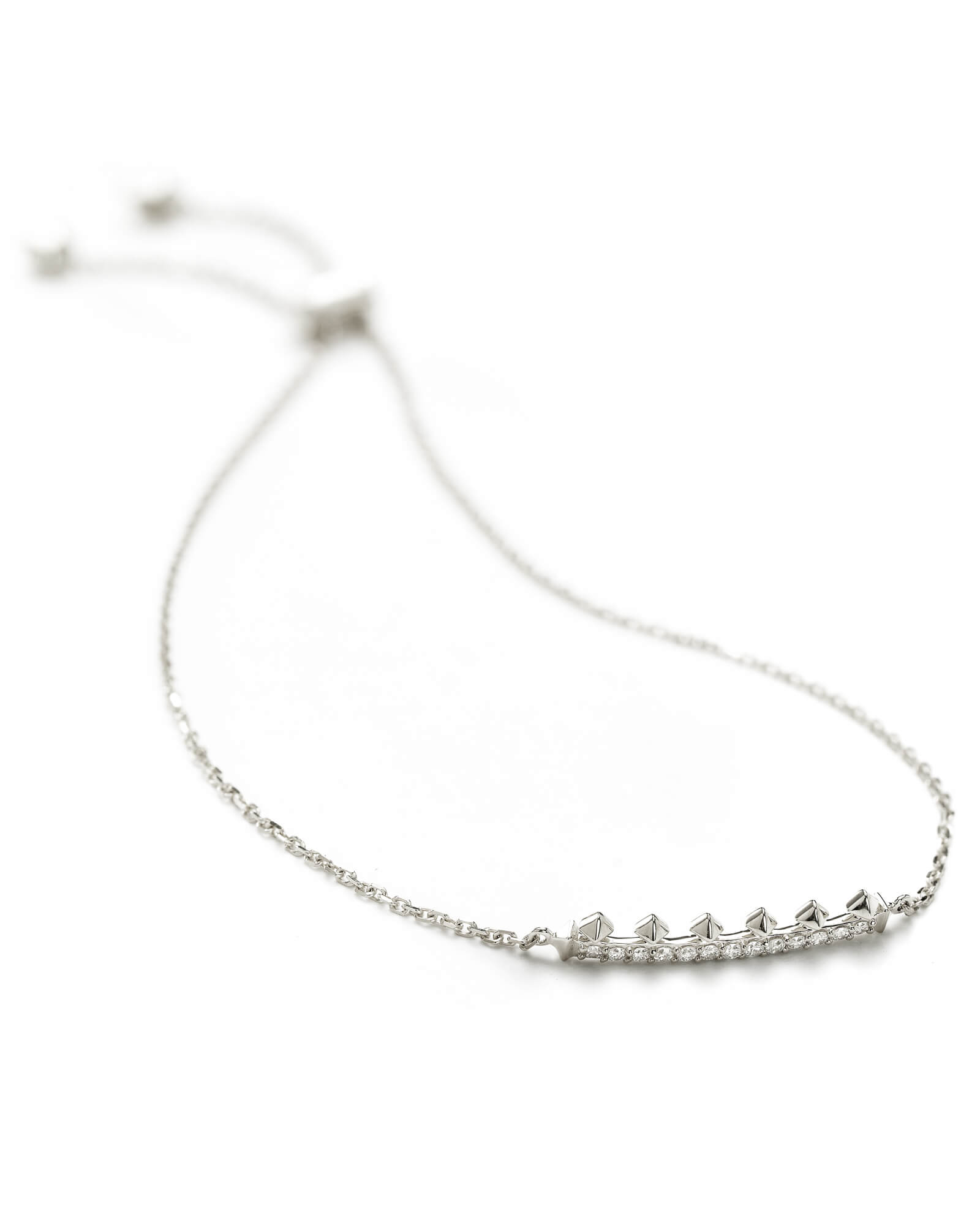 Molly Adjustable Chain Bracelet in White Diamond and 14k White Gold