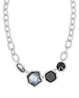 Natalia Silver Statement Necklace in Charcoal Gray Mix