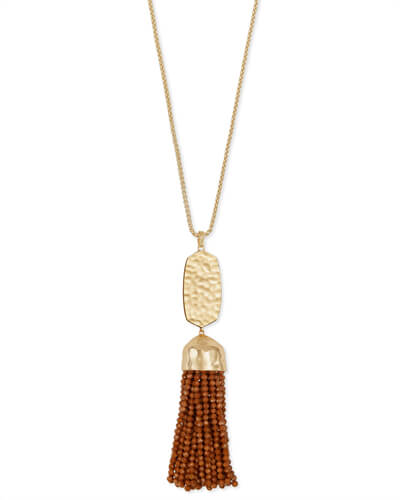 Monroe Gold Long Pendant Necklace in Goldstone Glass