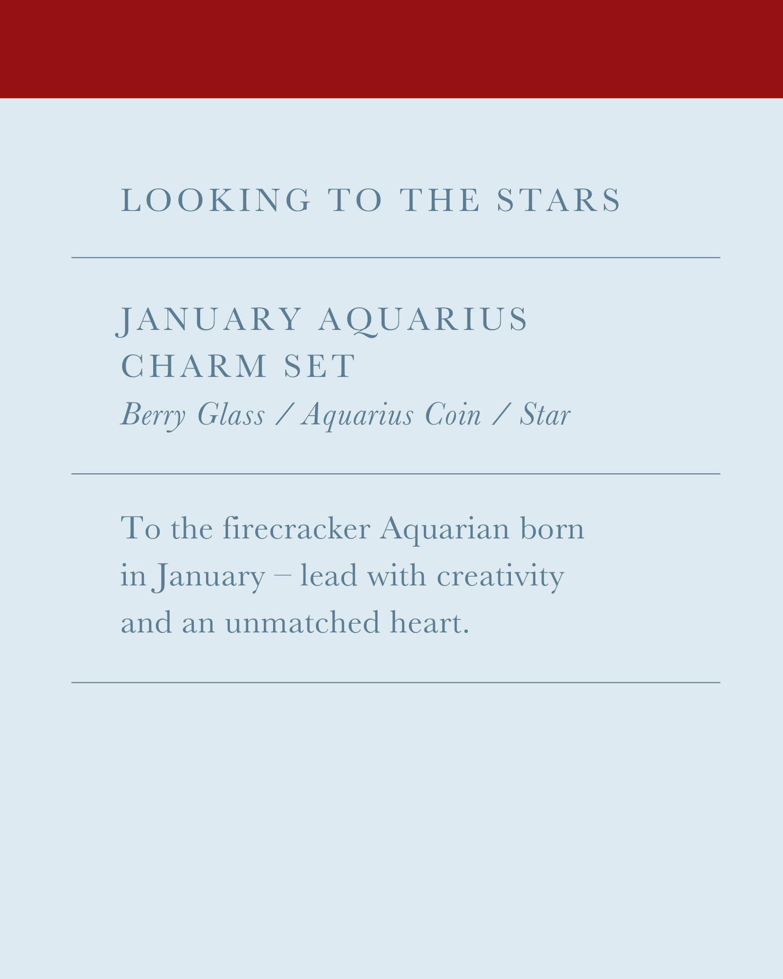 January Aquarius Charm Necklace Set in Gold