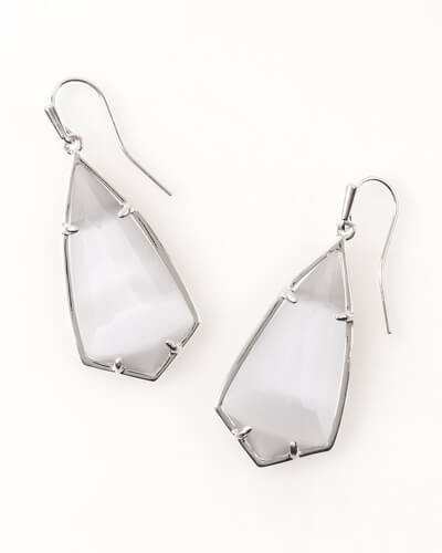 Carla Silver Drop Earrings in Slate