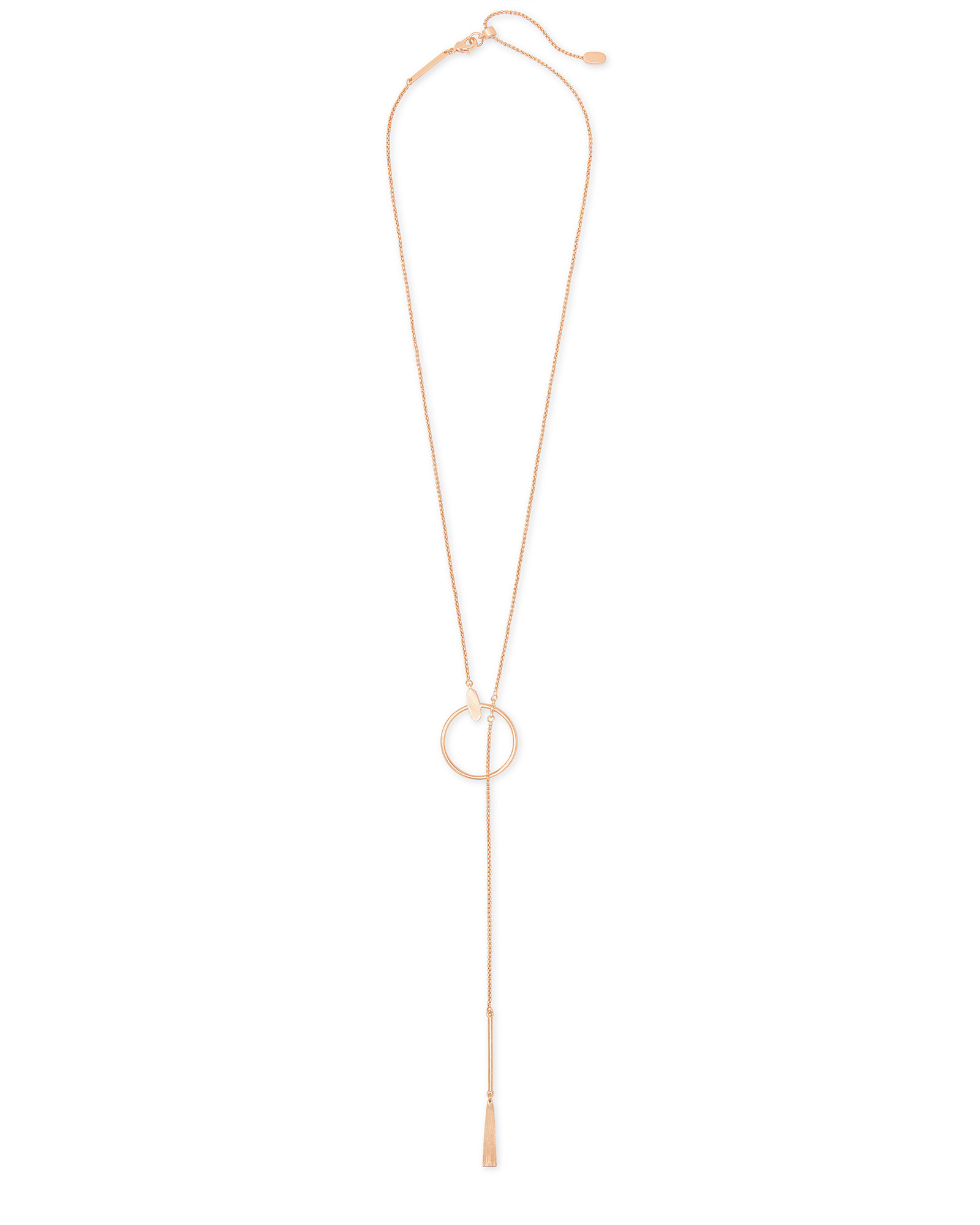 Small Tegan Y Necklace in Rose Gold