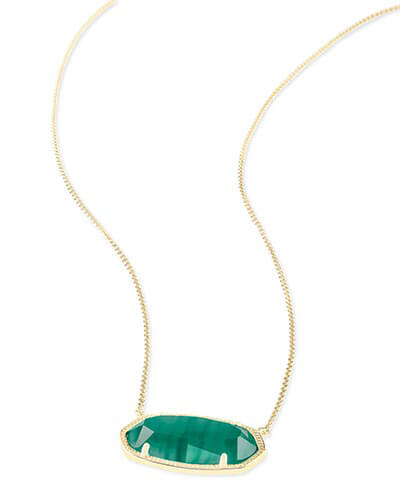 Delaney Pendant Necklace in Emerald Cat's Eye
