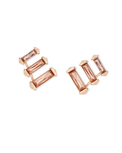 Brooks Rose Gold Ear Climbers in Blush Crystal