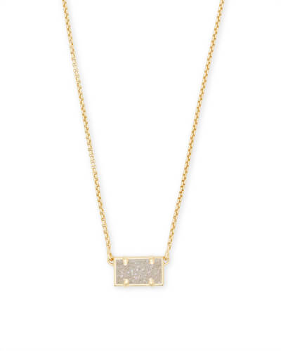 Pattie Gold Pendant Necklace In Iridescent Drusy