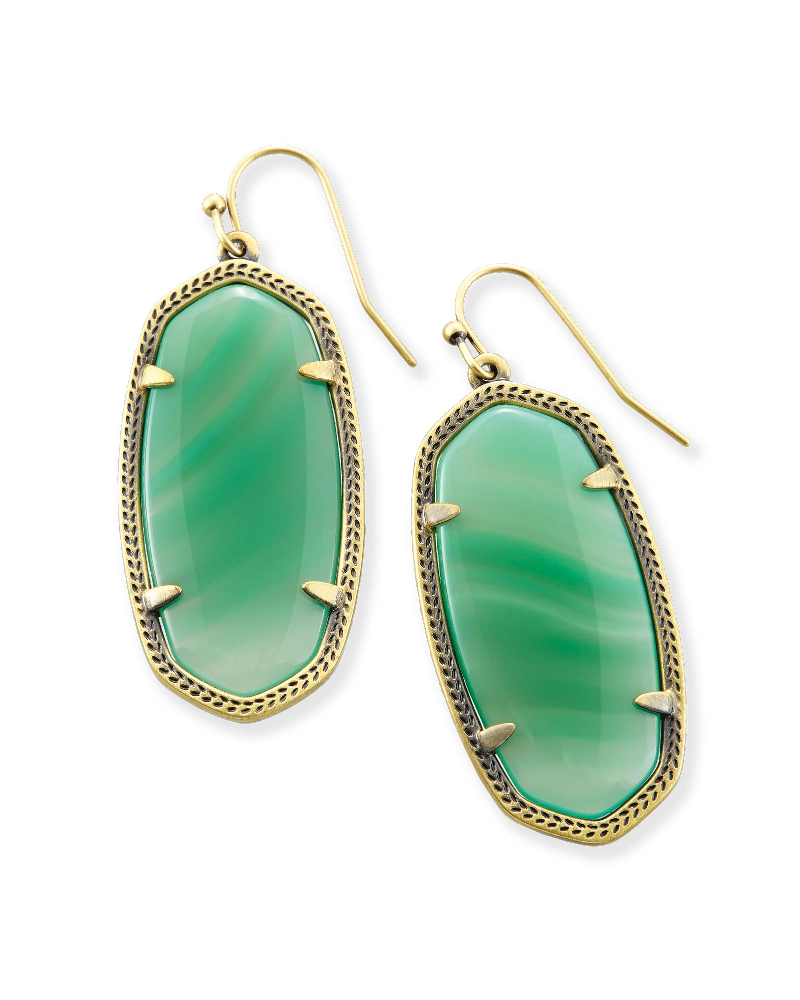Elle Drop Earrings In Green Banded Agate