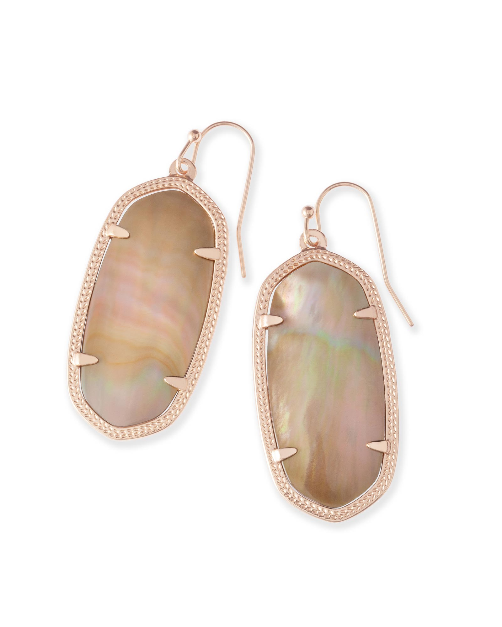 Elle Rose Gold Drop Earrings In Brown Mother Of Pearl