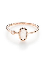Chastain Ring in Rainbow Moonstone and 14k Rose Gold - 8