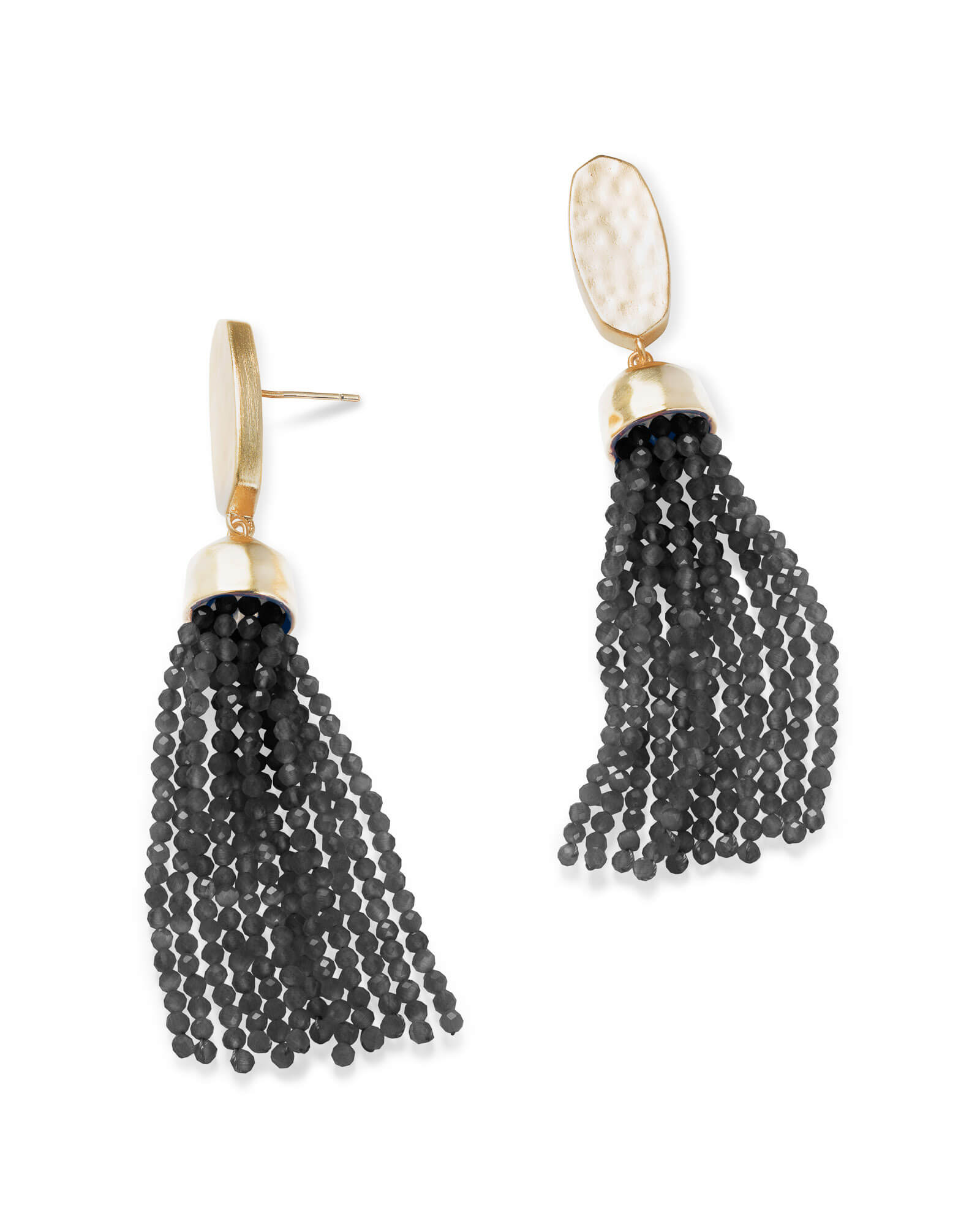 Marin Gold Statement Earrings in Black Opaque Glass