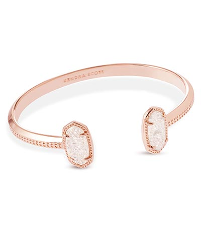 Elton Rose Gold Cuff Bracelet in Iridescent Drusy