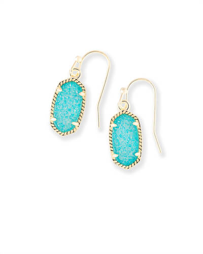 Lee Gold Drop Earrings in Teal Drusy
