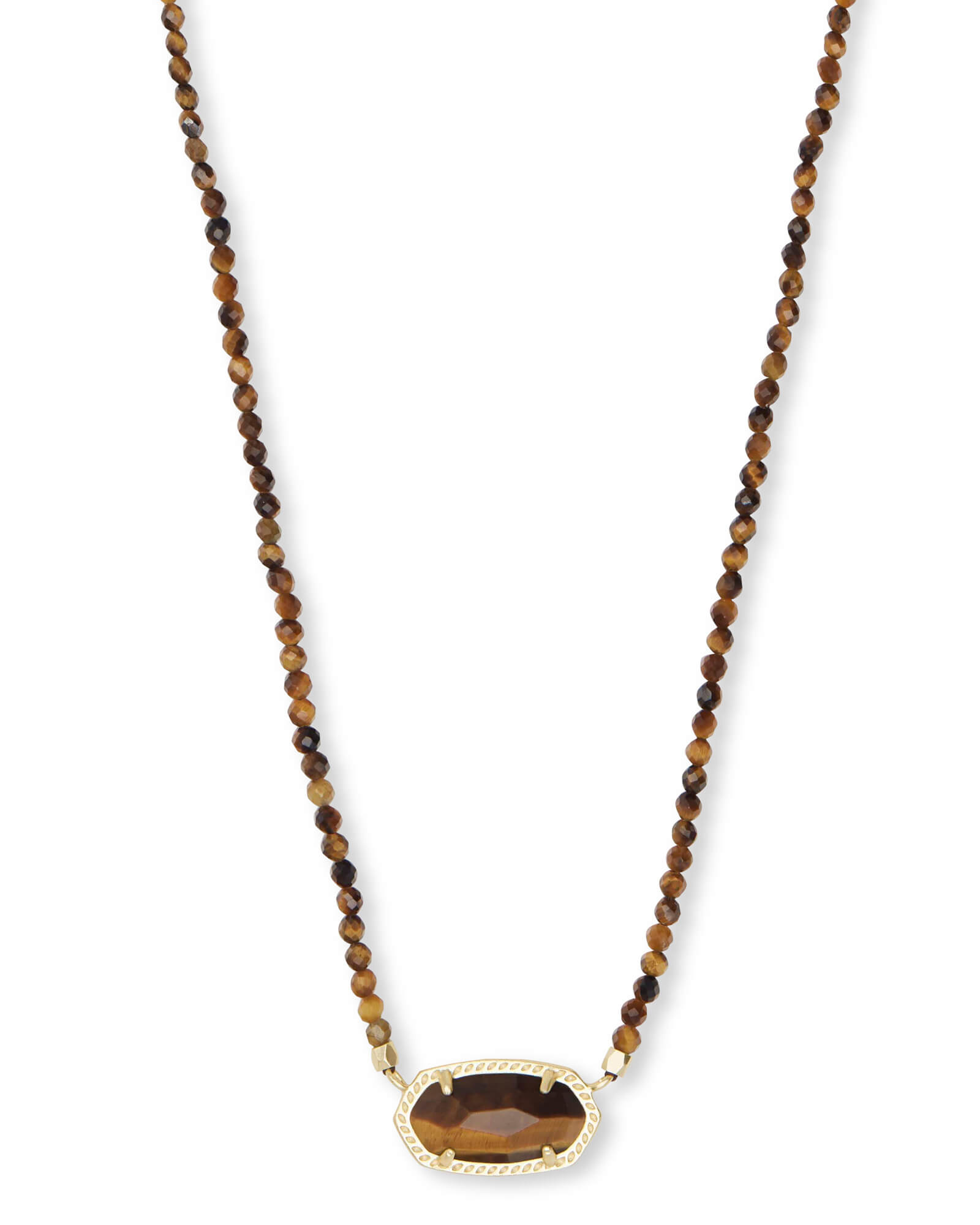 Elisa Gold Beaded Pendant Necklace in Brown Tigers Eye