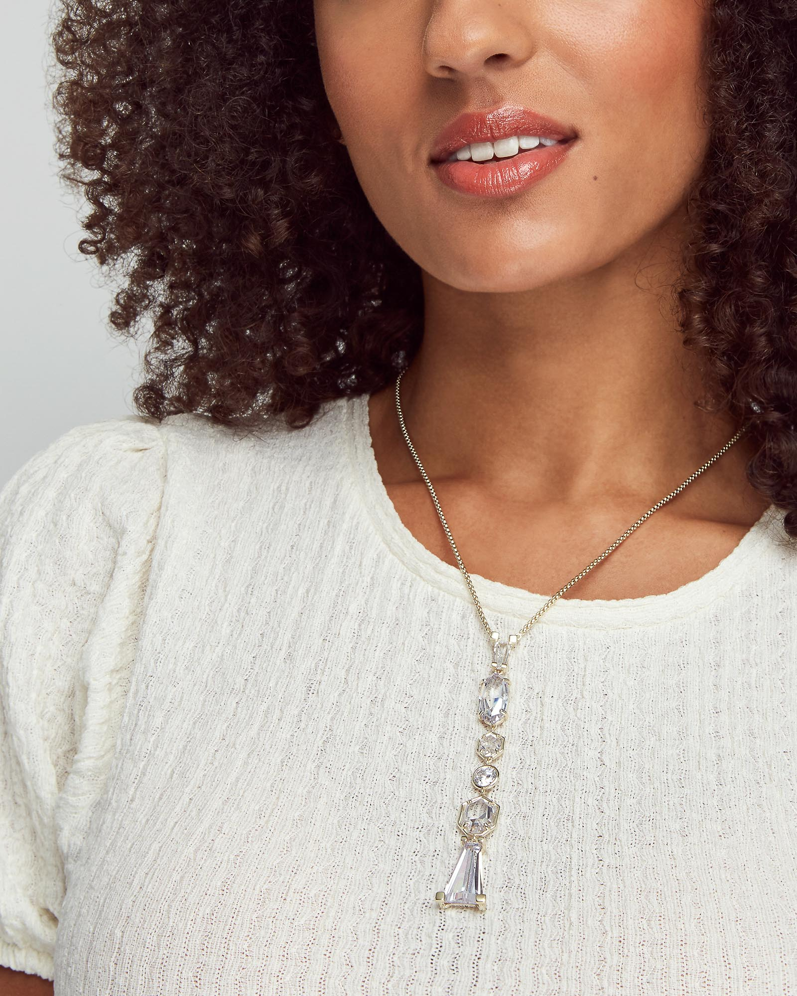 Gracelynn Gold Y Necklace in Lustre Glass