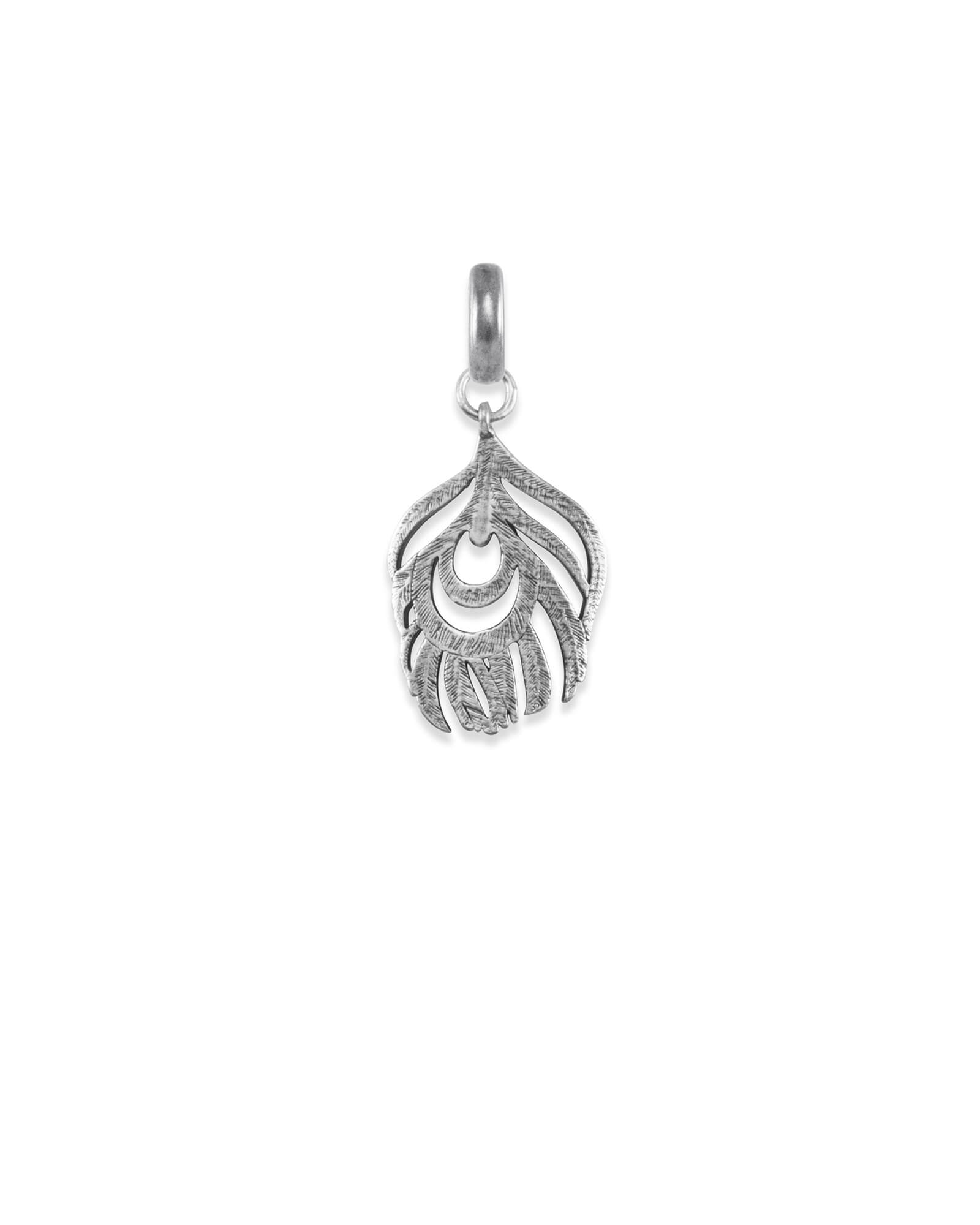 Peacock Feather Charm in Vintage Silver