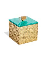 Square Filigree Box in Variegated Teal Magnesite