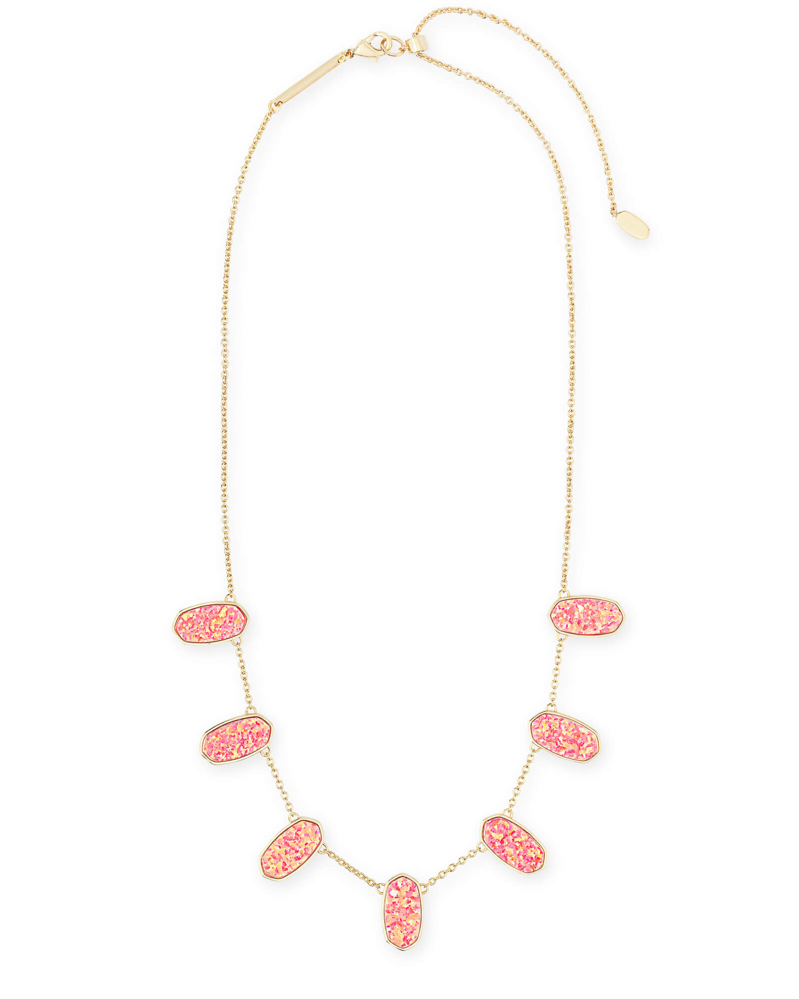 Meadow Gold Collar Necklace in Hot Pink Kyocera Opal