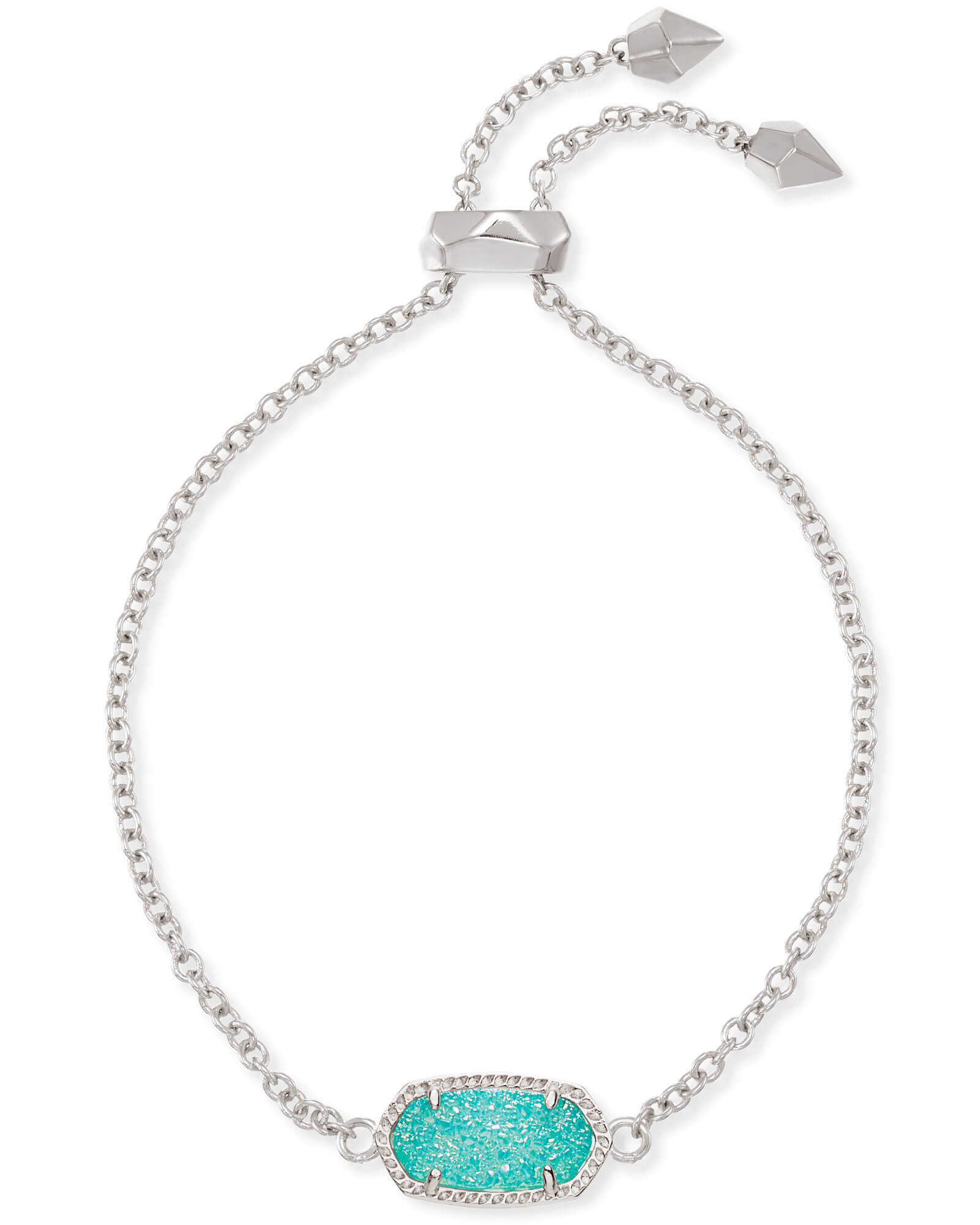 Elaina Silver Adjustable Chain Bracelet in Teal Drusy