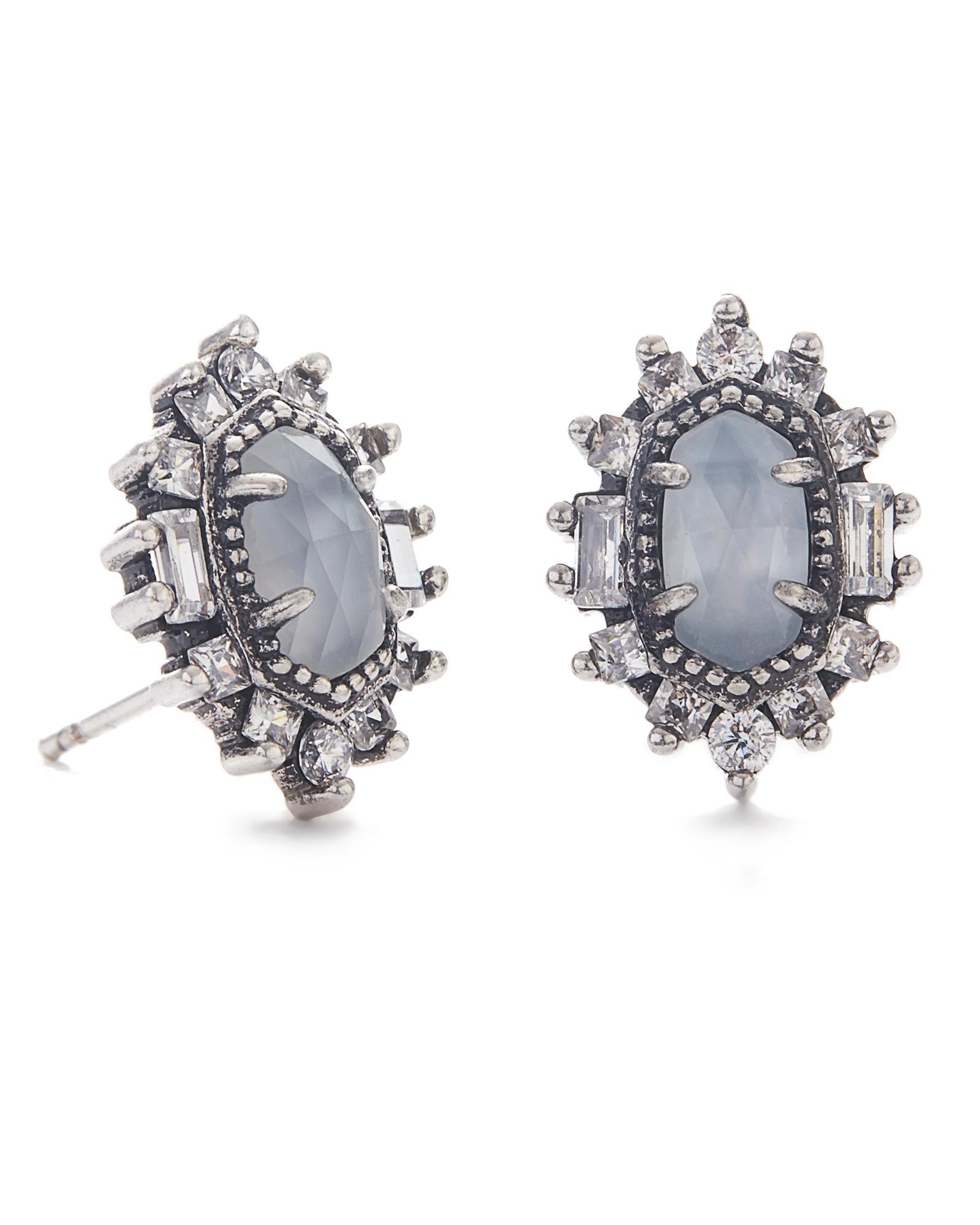 Kaia Stud Earrings in Antique Silver