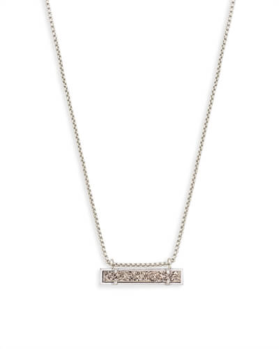 Leanor Silver Pendant Necklace in Platinum Drusy