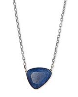 Mckenna Vintage Silver Pendant Necklace in Navy Wood