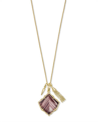 Arlet Gold Pendant Necklace in Brown Dusted Glass