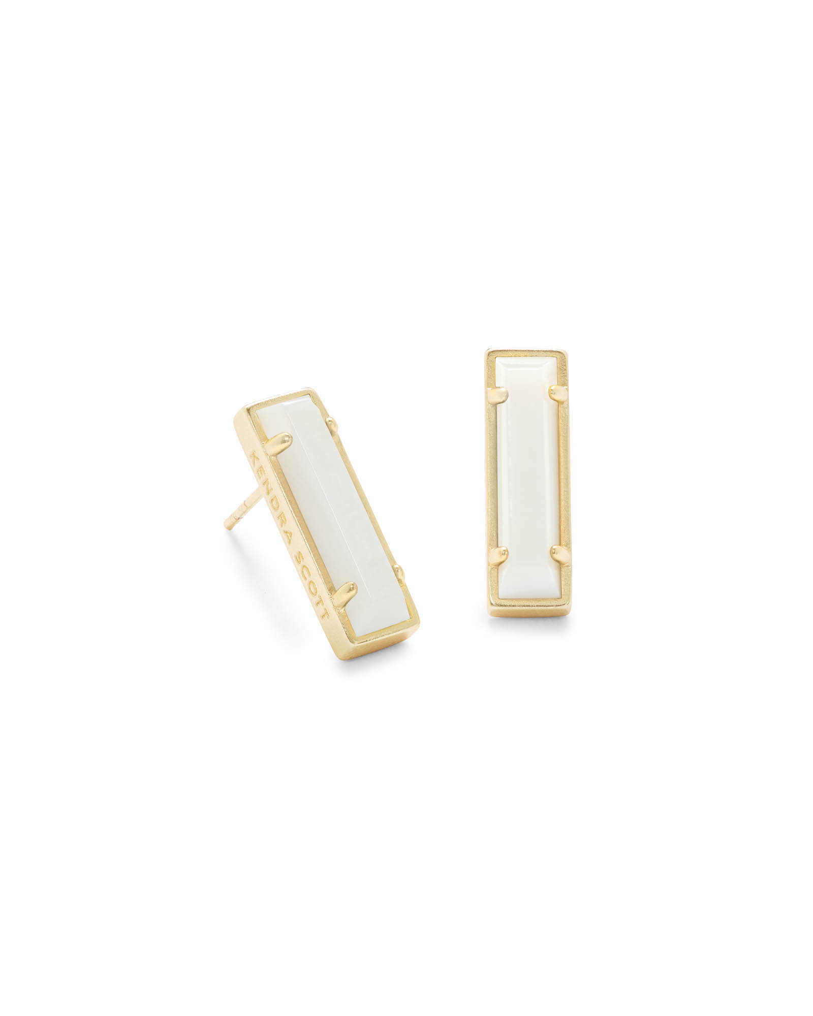 Lady Gold Stud Earrings in White Pearl