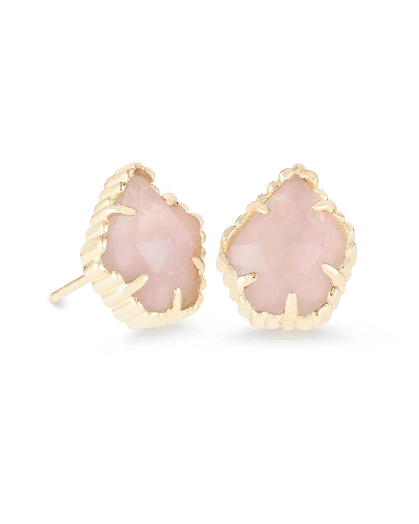 Tessa Stud Earrings In Rose Quartz