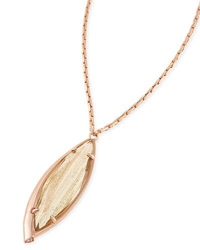 Milla Long Necklace in Gold Dusted Glass