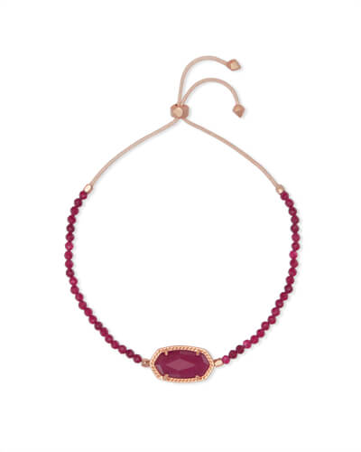 Elaina Rose Gold Beaded Chain Bracelet in Maroon Jade
