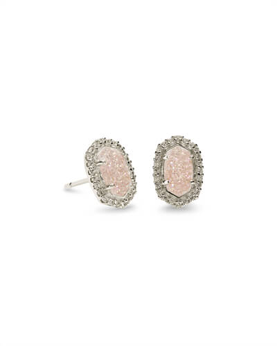Cade Silver Stud Earrings in Iridescent Drusy