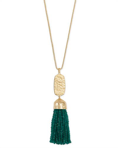 Monroe Gold Long Pendant Necklace in Emerald Cats Eye