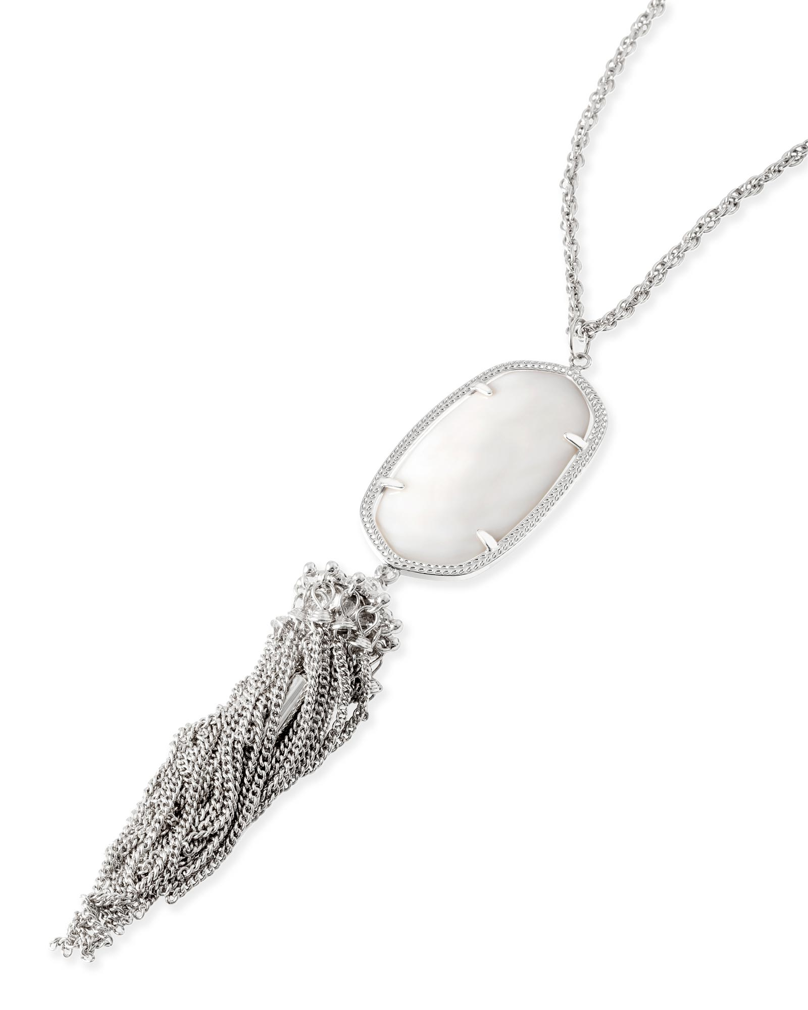 Rayne Silver Necklace in White Pearl