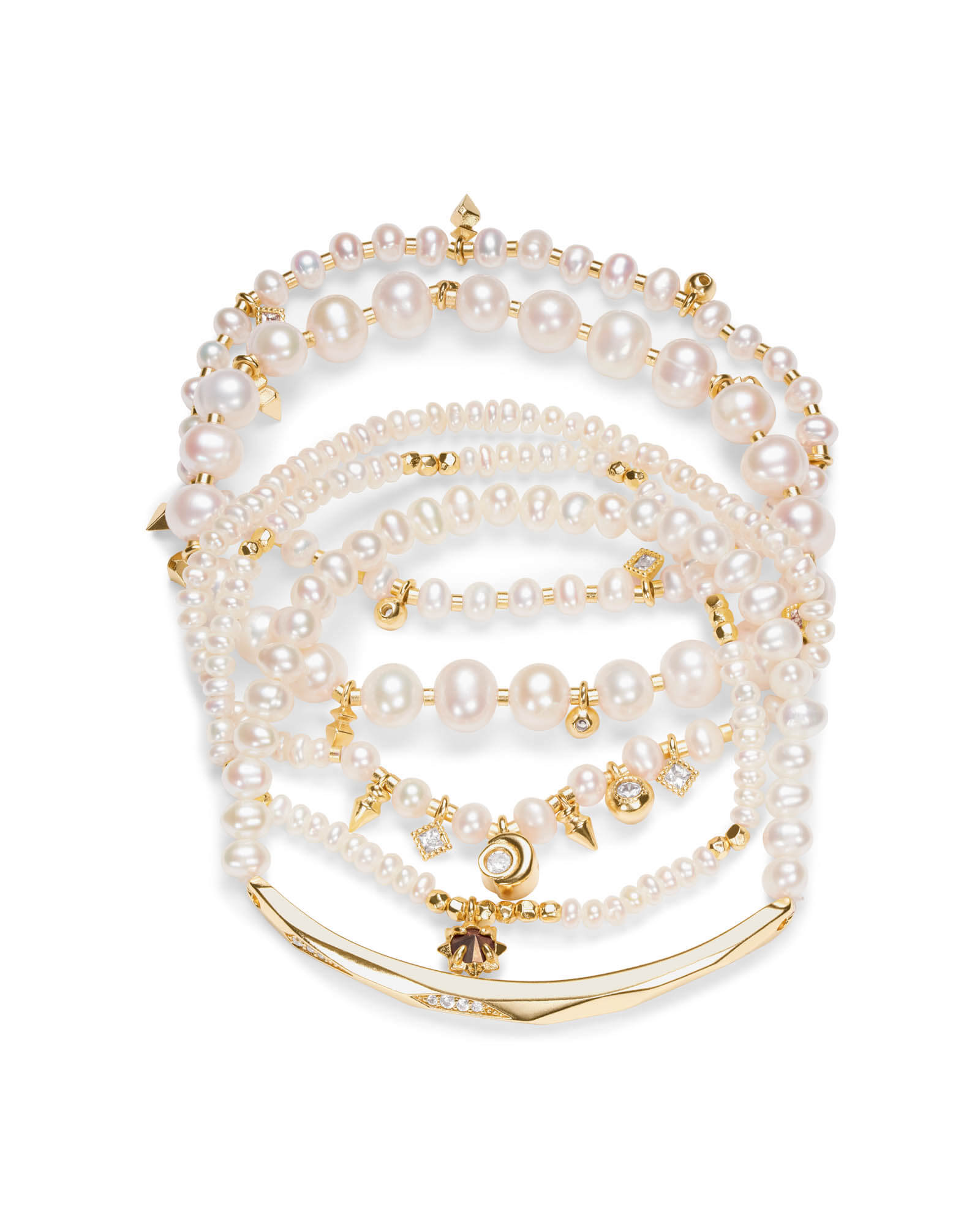 Supak Gold Beaded Bracelet Set in White Pearl