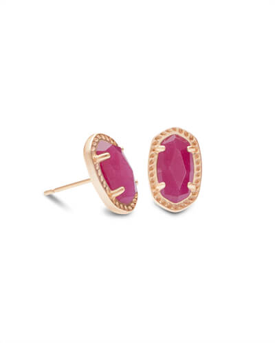 Emery Rose Gold Stud Earrings in Maroon Jade