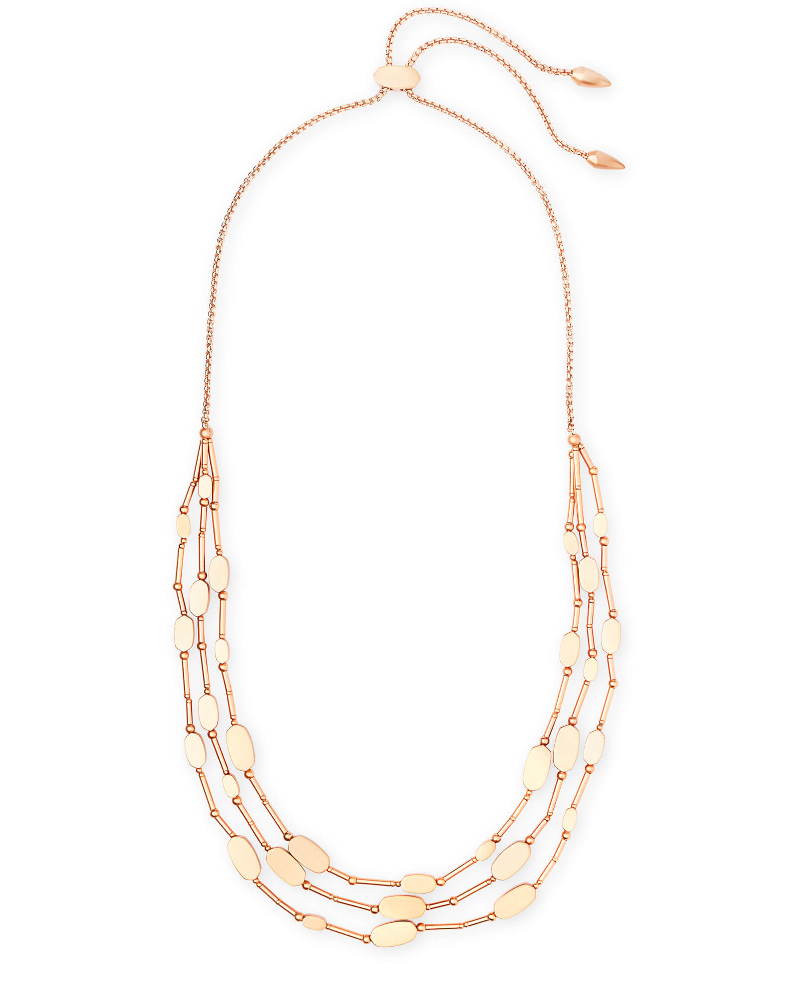 Channing Multi Strand Necklace in Rose Gold