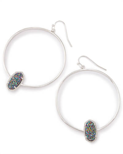Elora Silver Hoop Earrings In Multicolor Drusy