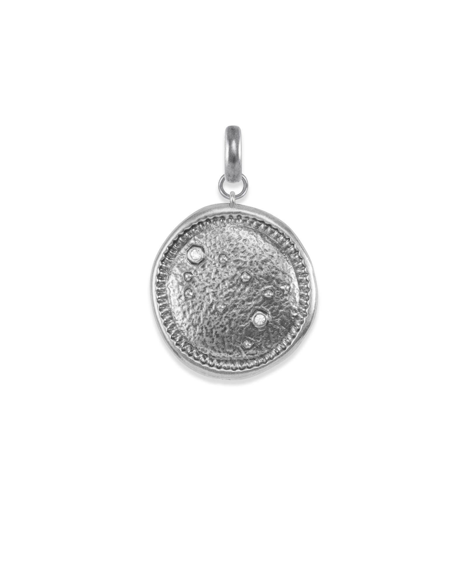 Gemini Coin Charm in Vintage Silver