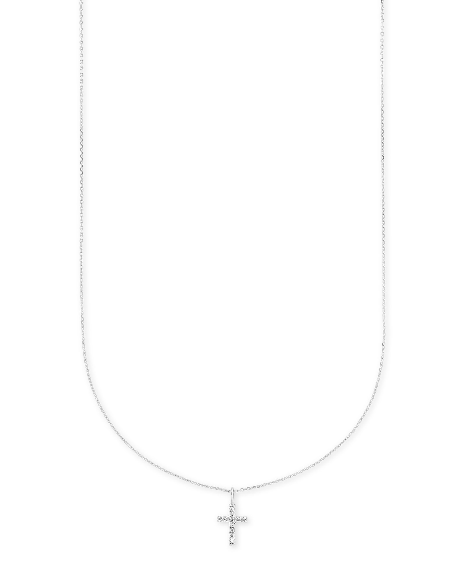 Cross 14k White Gold Pendant Necklace in White Diamonds