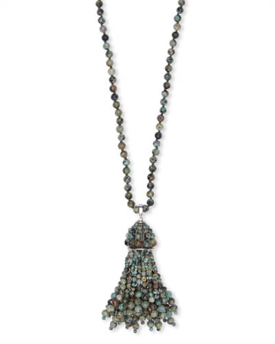 Sylvia Silver Long Pendant Necklace in African Turquoise