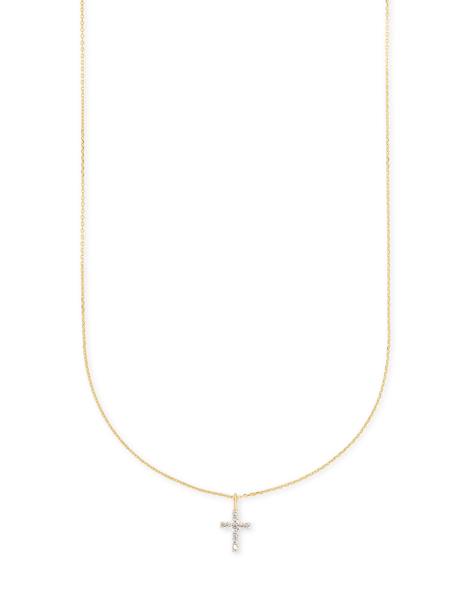 Cross 14k Yellow Gold Pendant Necklace in White Diamonds