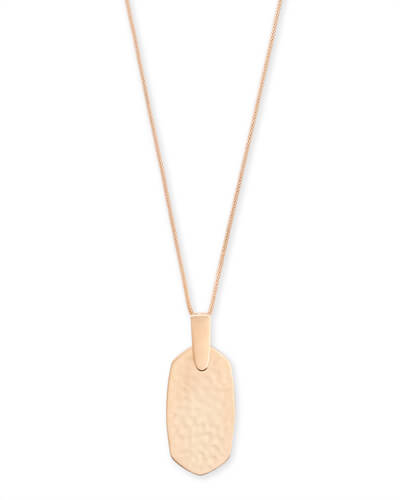 Inez Hammered Long Pendant Necklace in Rose Gold